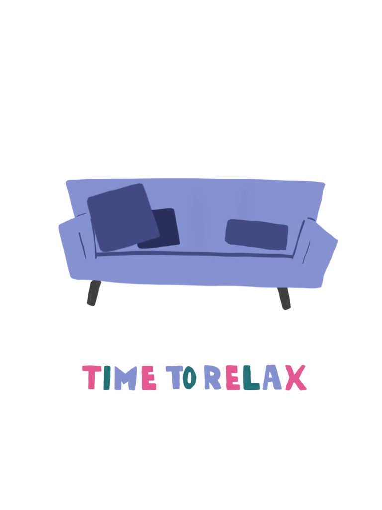 Time to Relax couch doodle and lettering