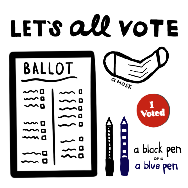 Objects needed to vote lettering and doodles