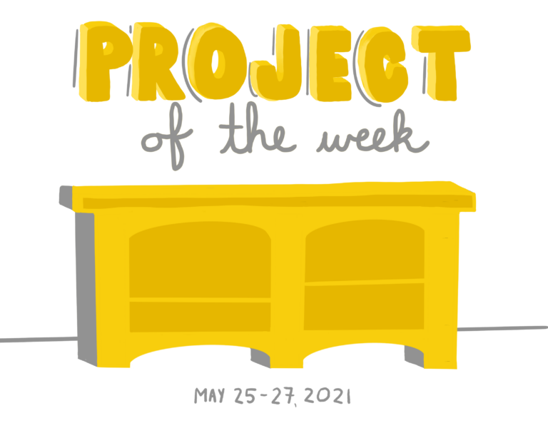 Doodle and lettering of the project of my week: painting a hutch bright yellow